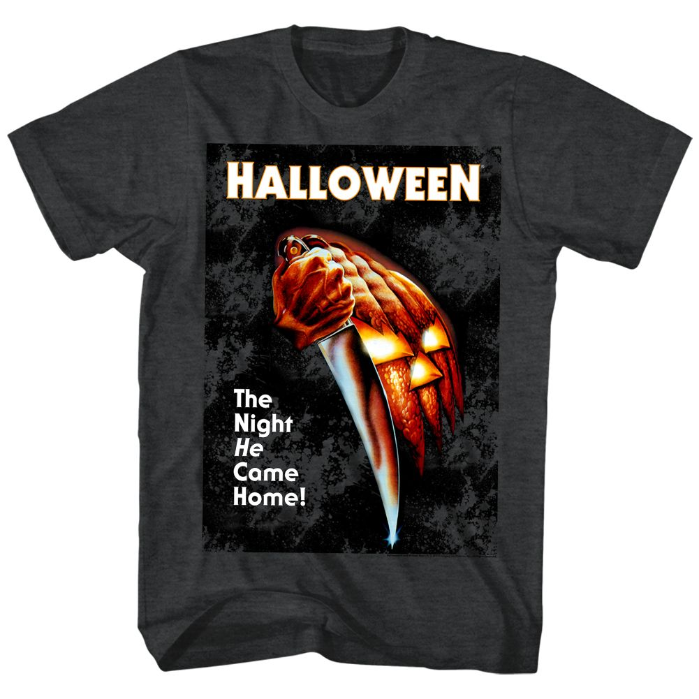 Halloween-The Night He Came Home-Black Heather Adult S/S Tshirt