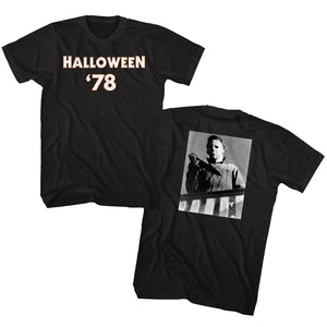 Halloween-78-Black Adult S/S Front-Back Print Tshirt