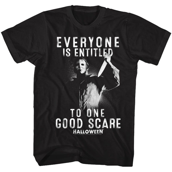 Halloween-One Good Scare-Black Adult S/S Tshirt