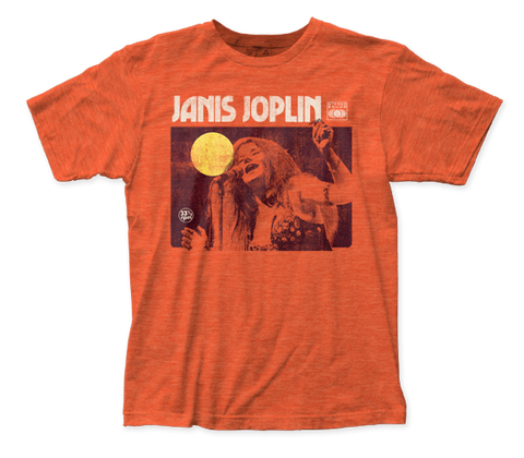 Janis Joplin Singing fitted jersey tee