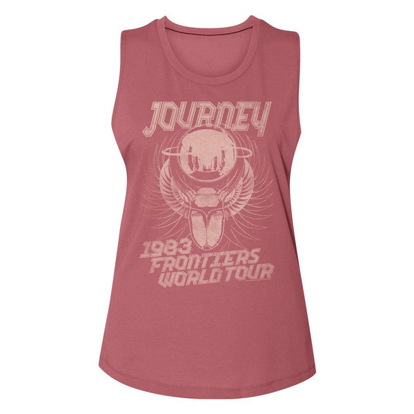 Journey - 1983 Frontiers Logo Smoked Paprika Ladies Muscle Tank Top T-Shirt tee - Coastline Mall