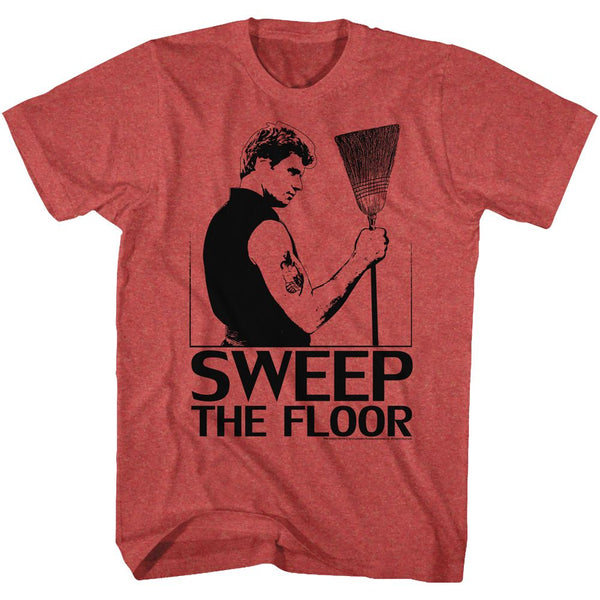 Karate Kid-Sweep-Red Heather Adult S/S Tshirt - Coastline Mall