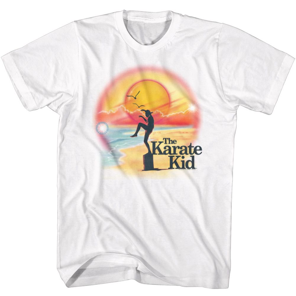 Karate Kid-Airbrush Beach-White Adult S/S Tshirt