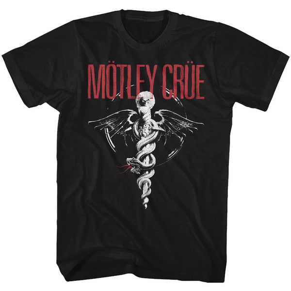 Motley Crue - Red Logo B&W Logo Black Short Sleeve Adult Soft Slim Fit Unisex Jersey T-Shirt tee - Coastline Mall
