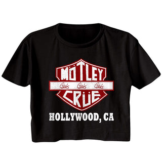 Motley Crue - Crue Sign Logo Black Short Sleeve Ladies Festival Cali Crop T-Shirt tee - Coastline Mall