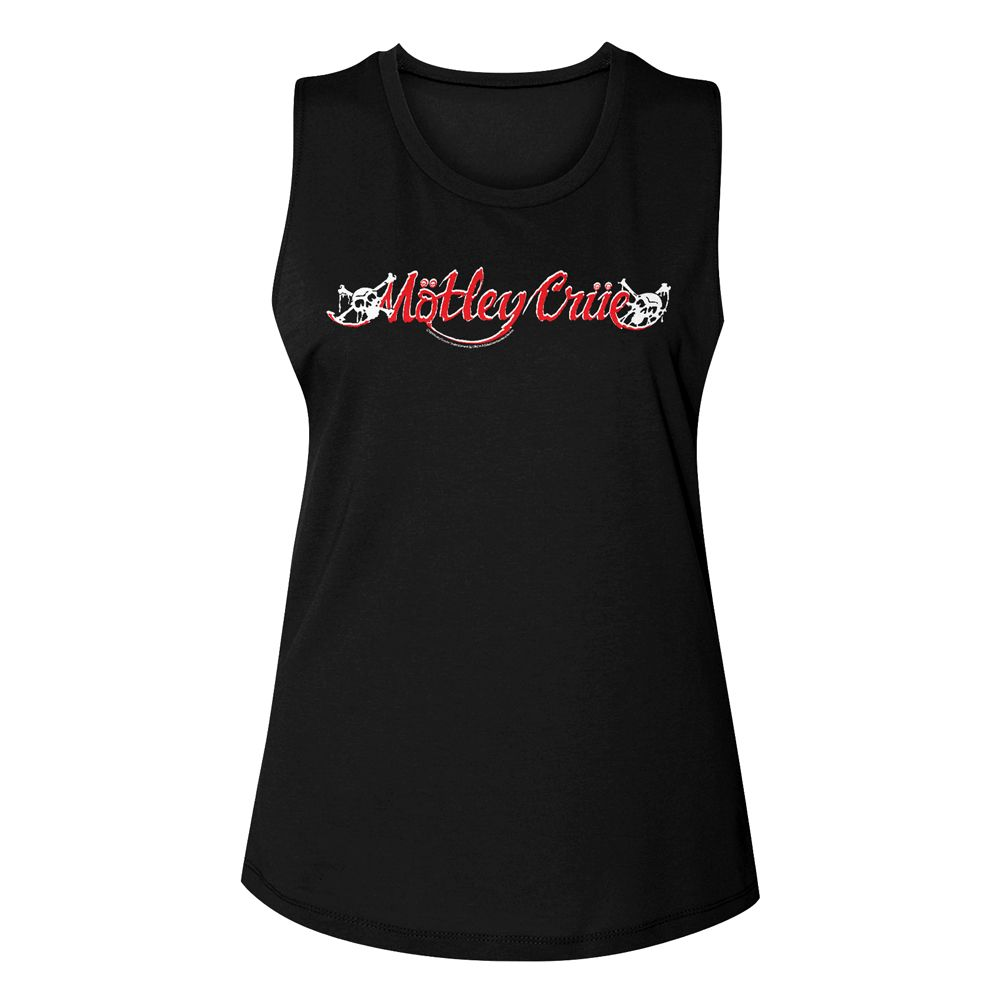 Motley Crue-Red & White Logo-Black Ladies Muscle Tank