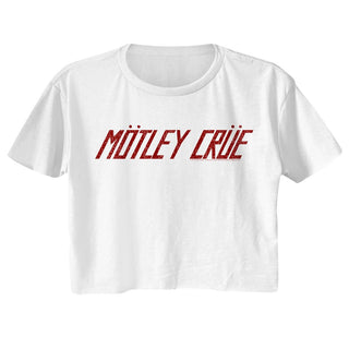 Motley Crue - Logo White Short Sleeve Ladies Festival Cali Crop T-Shirt tee - Coastline Mall