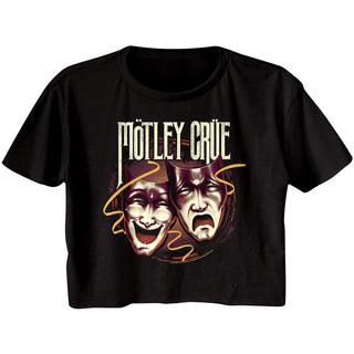Motley Crue - Drama Masks Logo Black Short Sleeve Ladies Festival Cali Crop T-Shirt tee - Coastline Mall