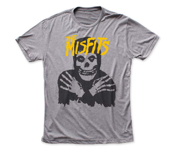 Misfits Classic Skull Yellow logo fitted tri-blend tee