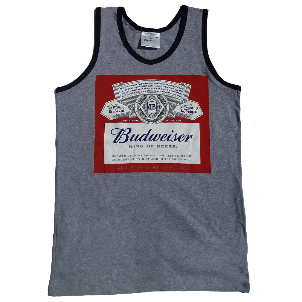 eff4cb005a6c4e ... Budweiser King Of Beers Classic Label Licensed Men s Tank Top Gray -  Navy Trim