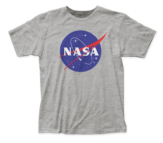 NASA - Logo Heather Grey Short Sleeve Adult Soft Slim Fit Unisex Jersey T-Shirt tee - Coastline Mall