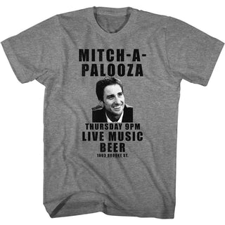 Old School Mitch-A-Palooza Logo Graphite Heather Adult Short Sleeve T-Shirt tee - Coastline Mall