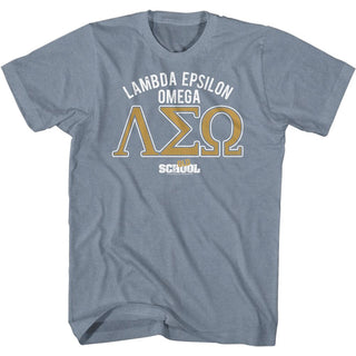 Old School - Frat Logo - Indigo Heather Adult Short Sleeve T-Shirt tee - Coastline Mall