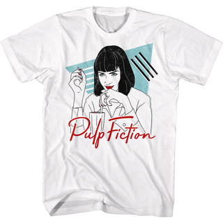 Pulp Fiction-Pop Arty-White Adult S/S Tshirt - Coastline Mall