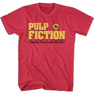 Pulp Fiction-Pulp Fiction Logo-Cherry Heather Adult S/S Tshirt - Coastline Mall