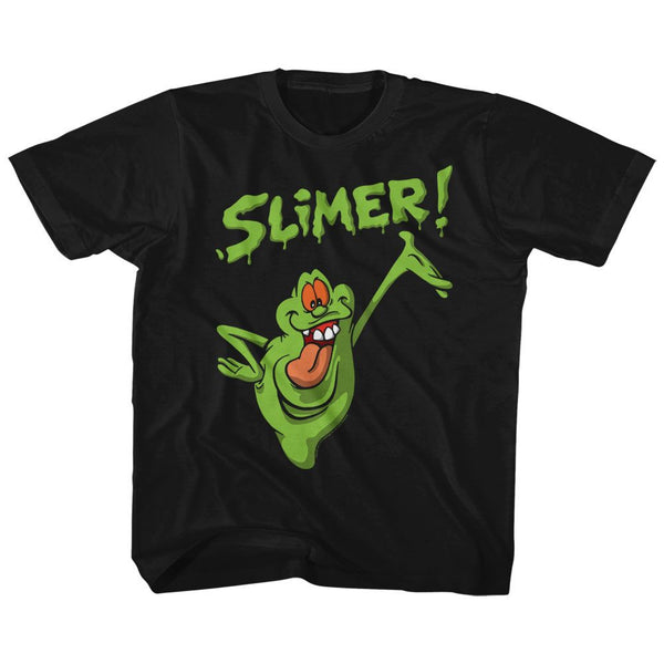 The Real Ghostbusters-Slimer!-Black Toddler-Youth S/S Tshirt - Coastline Mall