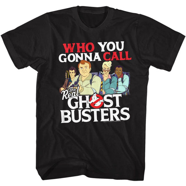 The Real Ghostbusters-Call Em-Black Adult S/S Tshirt - Coastline Mall