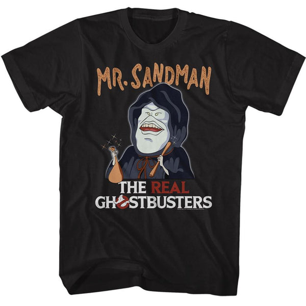 The Real Ghostbusters-Mr. Sandman-Black Adult S/S Tshirt - Coastline Mall