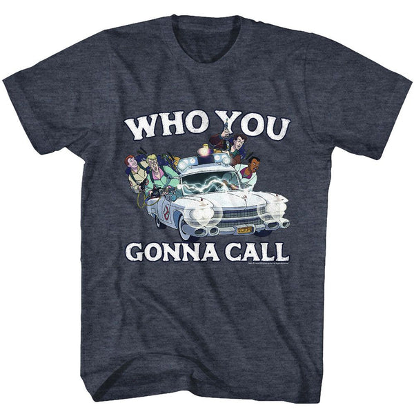 The Real Ghostbusters-Who You Gonna Call?-Navy Heather Adult S/S Tshirt - Coastline Mall
