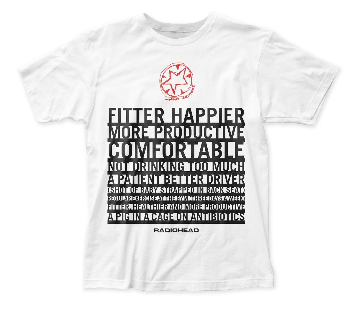Radiohead Fitter Happier organic fitted jersey tee