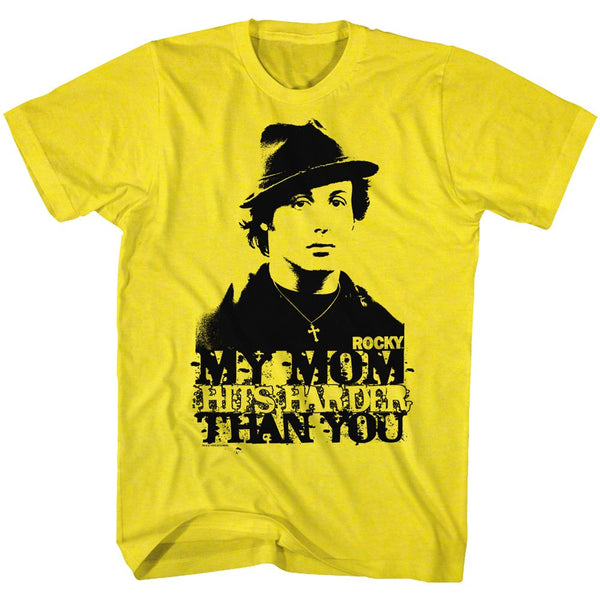 Rocky-My Mom Hits Harder-Yellow Adult S/S Tshirt - Coastline Mall