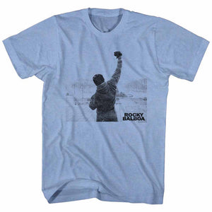 Rocky-Balboa Victory-Light Blue Heather Adult S/S Tshirt