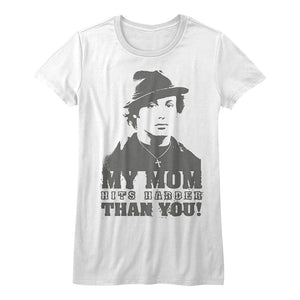 Rocky-My Mom Hits Harder-White Ladies S/S Tshirt
