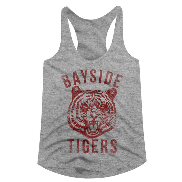 Saved By The Bell-Bayside-Gray Heather Ladies Racerback - Coastline Mall