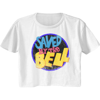 Saved By The Bell-Sbtb Logo-White Ladies S/S Festival Cali Crop - Coastline Mall