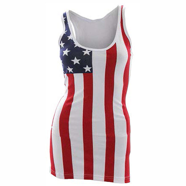 USA American Flag Stars & Stripes Woman's Junior's Tank Top Coverup