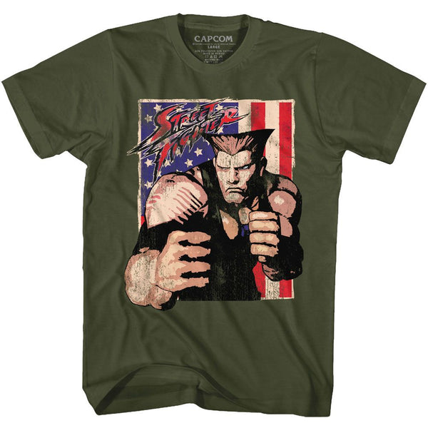 Street Fighter-Guile With Flag-Military Green Adult S/S Tshirt - Coastline Mall