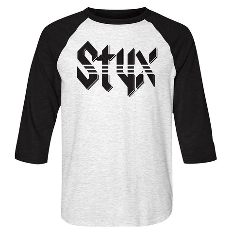Styx-Styx-White Heather/Vintage Black Adult 3/4 Sleeve Raglan