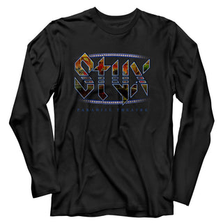 Styx - Paradise Theatre Logo Black Long Sleeve Adult T-Shirt tee - Coastline Mall