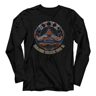 Styx Tour 1981 Logo Black Adult Long Sleeve T-Shirt tee - Coastline Mall