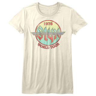 Styx-Circle Tour-Vintage White Ladies S/S Tshirt - Coastline Mall
