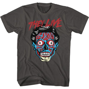 They Live-Alien Head-Smoke Adult S/S Tshirt