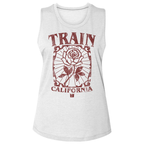 Train-California Rose-White Ladies Slub Sleeveless Crew Neck Tee