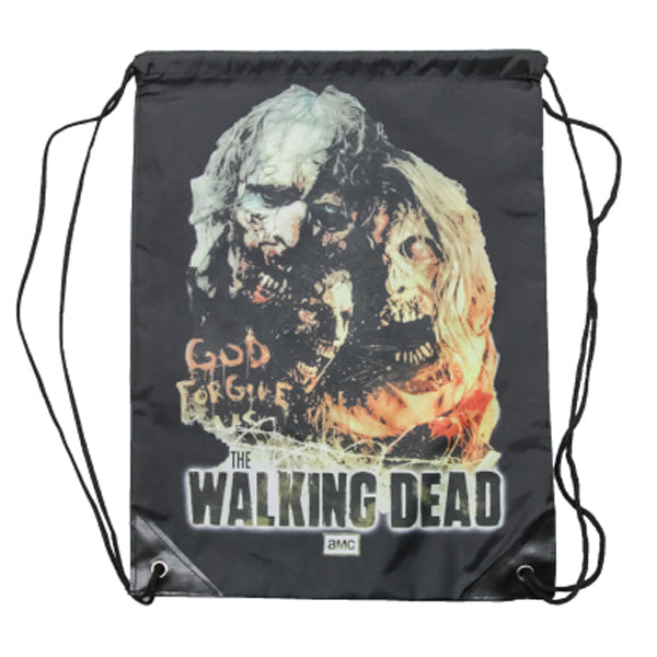 The Walking Dead Licensed God Forgive Us Walker Zombie String Backpack Bag
