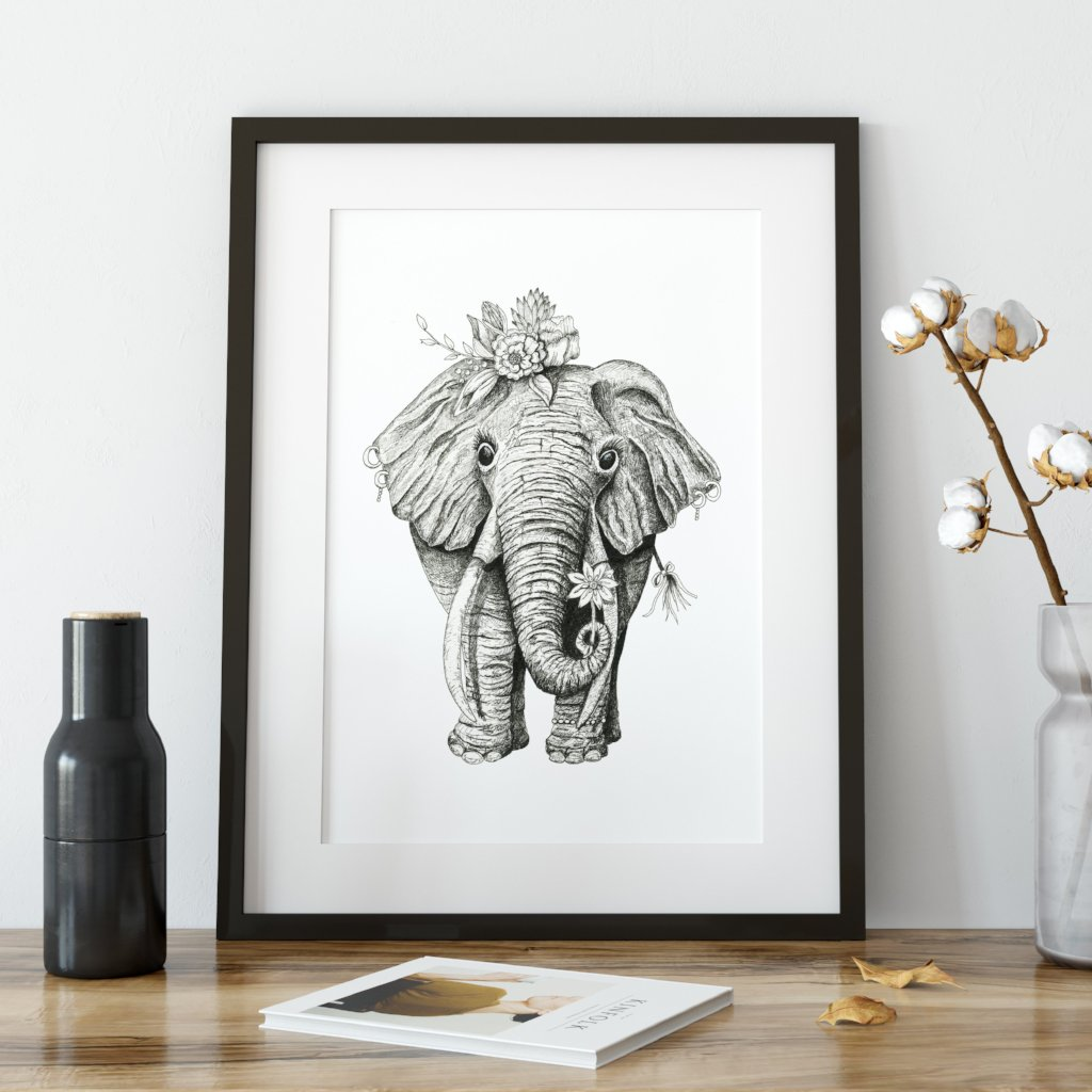 Ink Elephant Art Print - June Poppies Designs