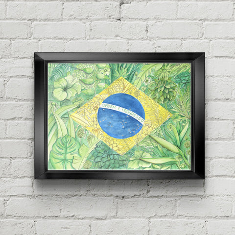 Floral Flag of Brazil Art Print - June Poppies Designs