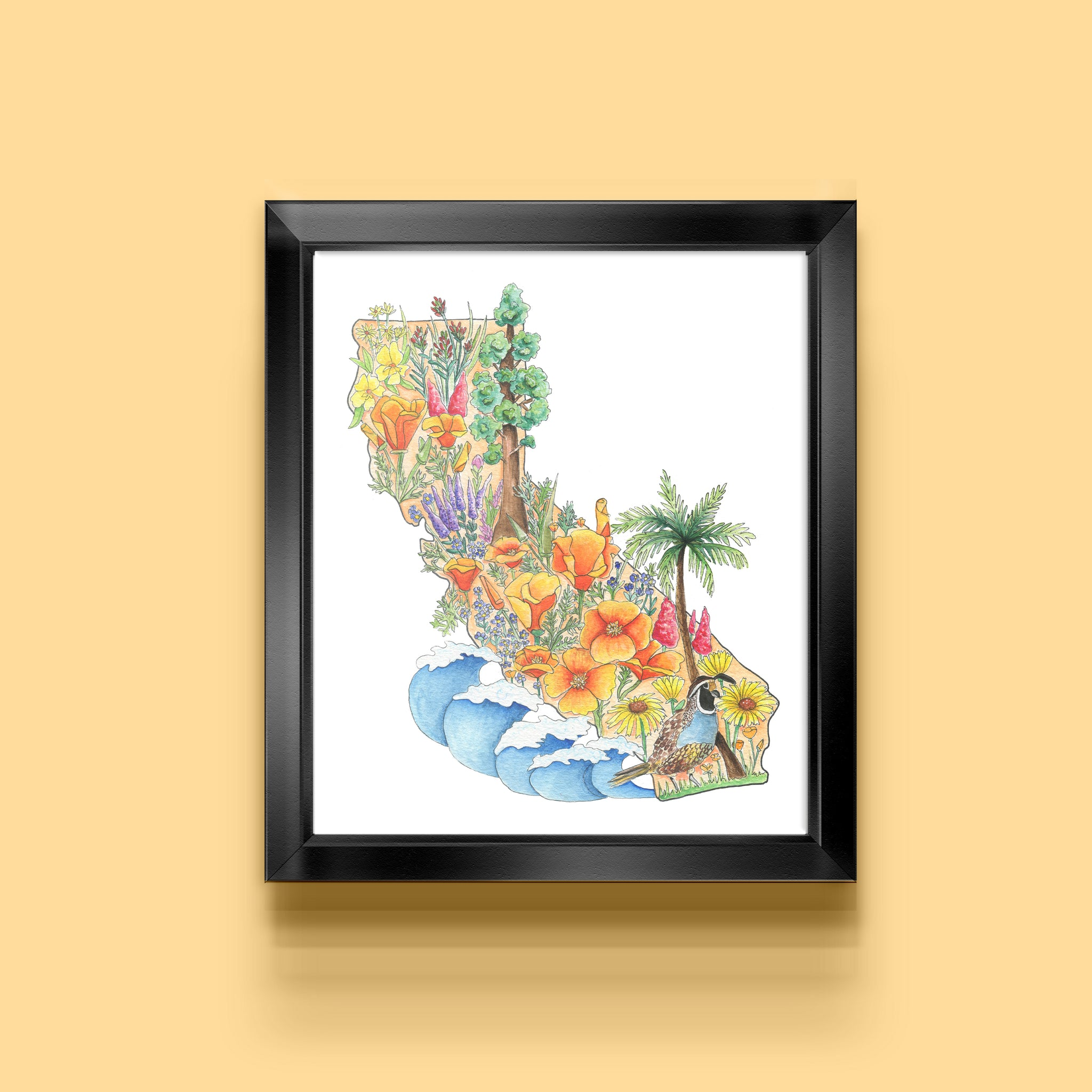 Floral State of California Art Print - June Poppies Designs