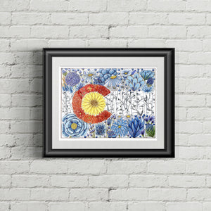 Floral Colorado Flag Art Print - June Poppies Designs