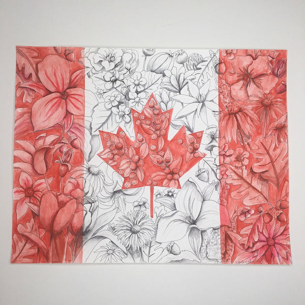 Floral Flag of Canada Art Print - June Poppies Designs