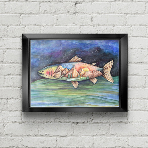 Rainbow Trout Mountain Art Print - June Poppies Designs