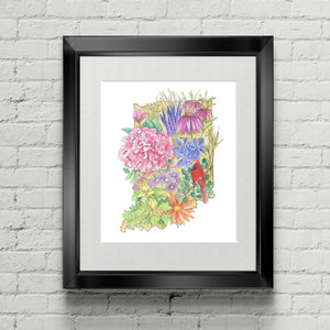 Floral State of Indiana - June Poppies Designs