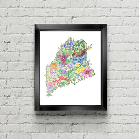 Floral State of Maine Art Print - June Poppies Designs