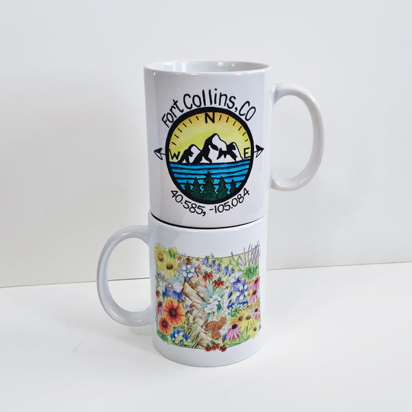 Fort Collins Colorado Compass Ceramic and Enamelware Mug - June Poppies Designs