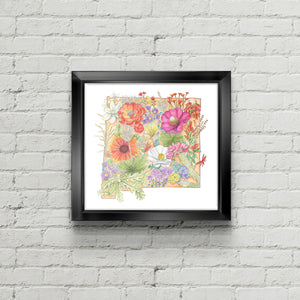 Floral State of New Mexico Art Print - June Poppies Designs