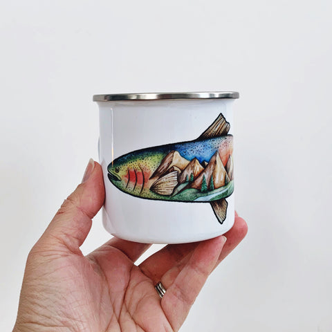 Rainbow Trout Enamelware Mug - June Poppies Designs