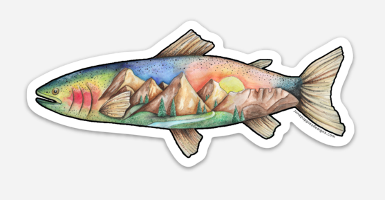 Fishing Mountain Vinyl Sticker - June Poppies Designs